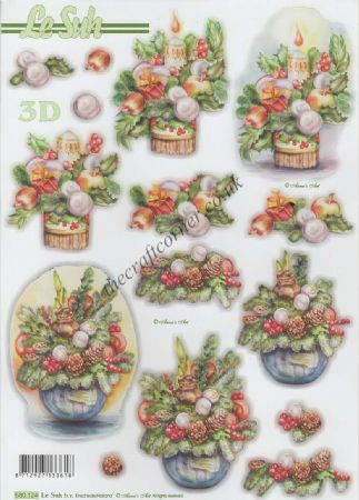 Christmas Flowers & Candle Die Cut 3d Decoupage Sheet